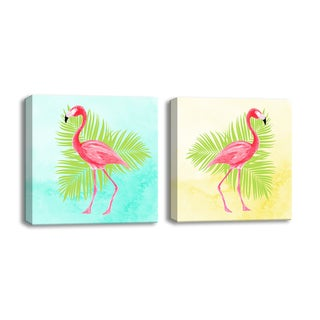 Flamingo I/II' 2-Piece Wrapped Canvas Art Set