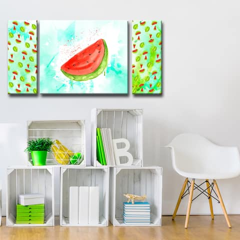 Ready2HangArt 'Watermelon Splash' 3-PC Wrapped Canvas Art Set