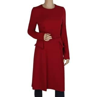 761f7d708c6 Badgley Mischka Red Elastic Viscose Belted Peplum Dress