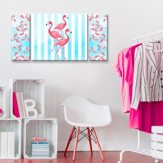 Ready2HangArt 'Flamingos align' 3-PC Wrapped Canvas Art Set