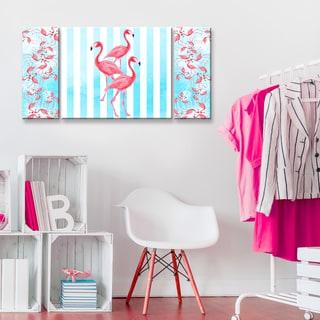 Ready2HangArt 'Flamingos align' 3-PC Wrapped Canvas Art Set