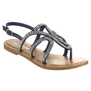 MI.IM EFFIE Women's Faux Leather Rhinestone Flat Sandal