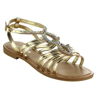 MI.IM Women's Dardani Gold/Brown Faux Leather Strappy Flat Sandals