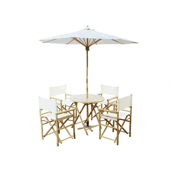 Zew Handcrafted Bamboo 6 Piece Round Patio Set