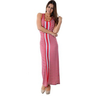 Special One Women's Cotton/Polyester Striped Sleeveless Tank Racer-back Long Maxi Dress