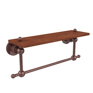 Allied Brass Astor Place Collection 16-inch Ironwood Shelf with Integrated Towel Bar