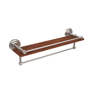 Allied Brass Collection Black, Brass, Bronze, Chrome, Copper, Nickel Brass, Wood 22-inch Shelf With Gallery Rail and Towel Bar