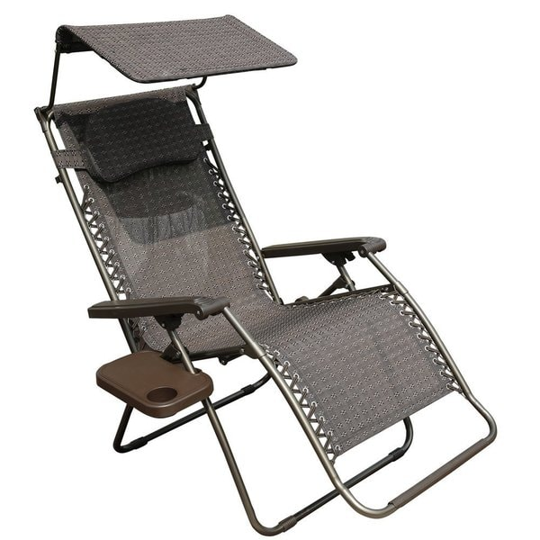 abba patio oversized zero gravity recliner patio lounge chair with sunshade and drink tray - Patio Lounge Chairs
