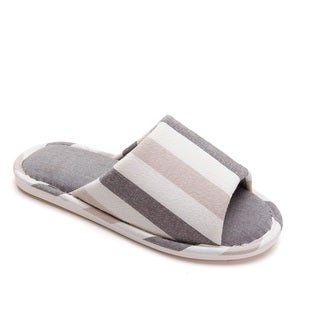 Memory Foam Japanese Style In House Cotton Stripe Slippers (Unisex, Pair)