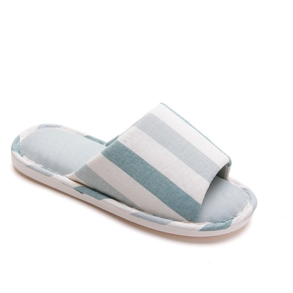 1 Pair Japanese Style Warm Men Slippers Blue Striped Cotton Cloth Indoor Slipper