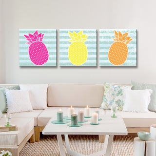Ready2HangArt 'Starburst Pineapple III' 3-PC Wrapped Canvas Art Set