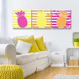 Ready2HangArt 'Starburst Pineapple III-B' 3-PC Wrapped Canvas Art Set