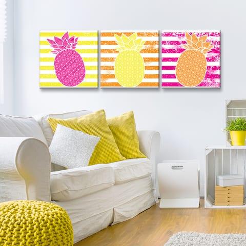Ready2HangArt 'Starburst Pineapple III-B' 3-PC Wrapped Canvas Art Set