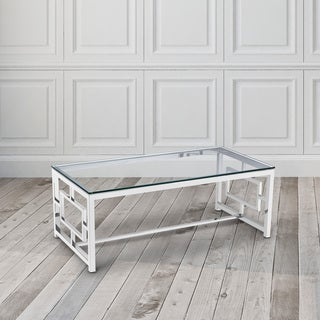 Zuri Contemporary Metal and Glass Rectangle Coffee Table