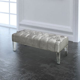 Contemporary Gray Upholstered Nailhead Acrylic Bench