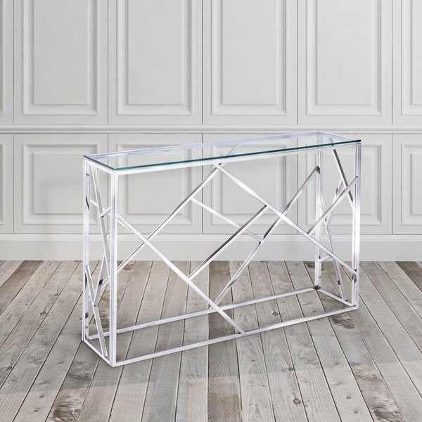 Calypso Metal And Glass Rectangle Console Table