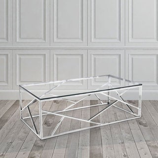 Calypso Glass-top Stainless Steel Coffee Table