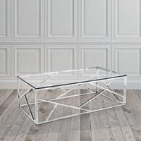 Calypso Contemporary Rectangle Glass and Metal Coffee Table