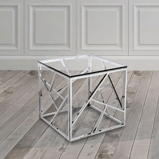 Calypso Contemporary Metal and Glass Square End Table