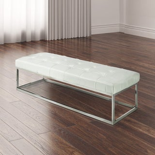 Mobi White Synthetic Leather Bench