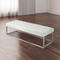 Tufted Faux Leather Upholstered Living Room Metal Bench