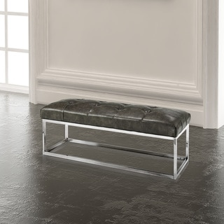 Contemporary Faux Leather Upholstered Metal Bench