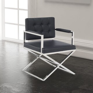 Contemporary Faux Leather Upholstered Metal Dining Room Chair