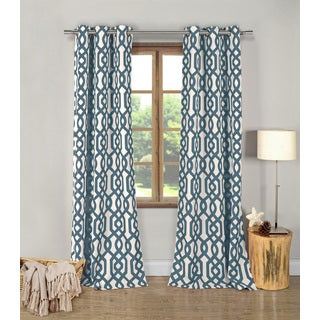 Ashmond Blue Textured 96-inch Grommet Curtain Panel Pair
