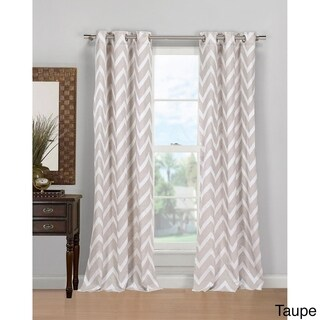Duck River Behrakis Chevron Linen Blend Grommet Top Curtain Panel Pair (As Is Item)