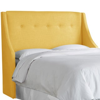 angelo:HOME French Yellow Linen/Polyester Button-tufted Wingback Headboard