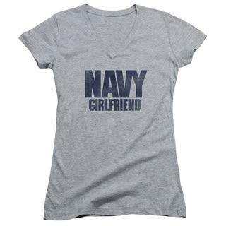 Navy/Girlfriend Junior V-Neck in Athletic Heather