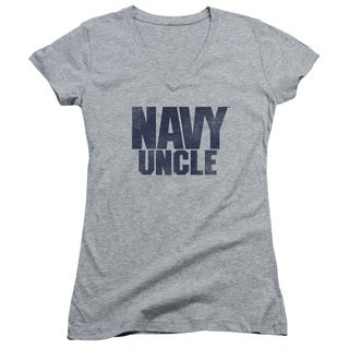 Navy/Uncle Junior V-Neck in Athletic Heather
