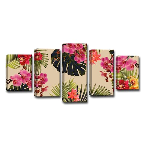 The Curated Nomad 5-piece 'Coastal Jungle' Wrapped Canvas Art Set