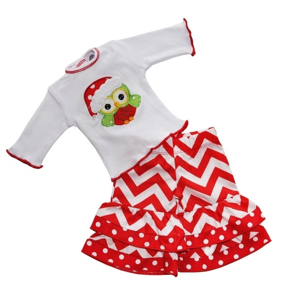 AnnLoren Red and White Cotton Christmas Owl Outfit for 18-inch Dolls