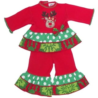 AnnLoren Christmas Damask and Polka Reindeer Red/White/Green Cotton Doll Outfit for 18-inch Dolls