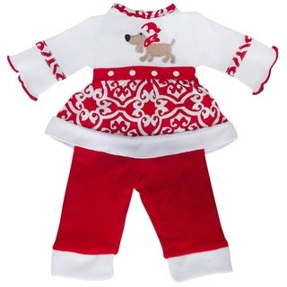 AnnLoren American Doll Red and White Cotton Christmas Dog Doll Outfit