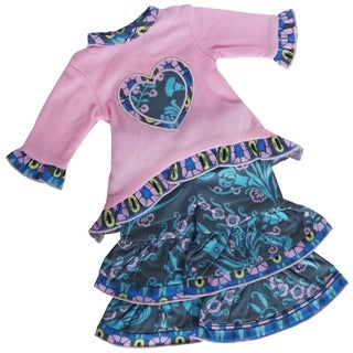 AnnLoren Pink and Blue Floral Heart Doll Outfit for 18-inch Dolls