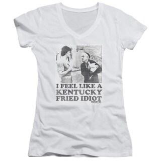Rocky/Fried Idiot Junior V-Neck in White