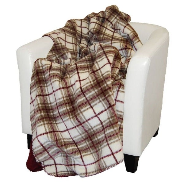 Denali Tartan Plaid Driftwood/ Merlot Throw Blanket