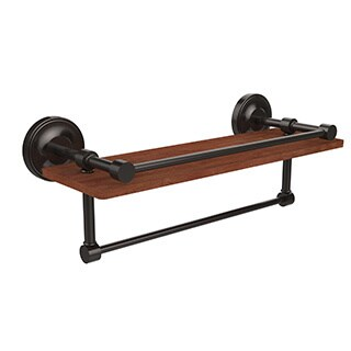 Allied Brass Prestige Regal Collection Clear IPE Ironwood 16-inch Shelf with Gallery Rail and Towel Bar
