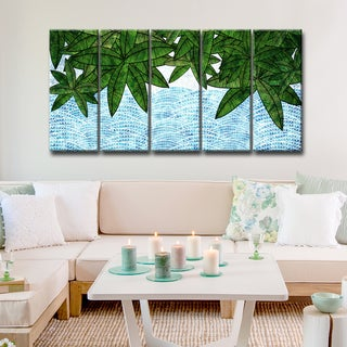 Ready2HangArt 'Leaves by the Shore' 5-PC Wrapped Canvas Art Set