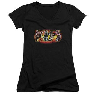 Kiss/Stage Logo Junior V-Neck in Black