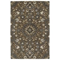 """Hand-Tufted Perry Medallion Chocolate Wool Rug (5' x 7'9"""")"""