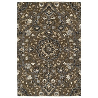 Hand-Tufted Perry Medallion Chocolate Wool Rug (8' x 10')