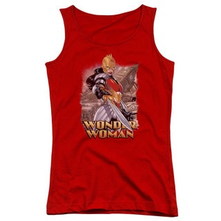 JLA/Wonder Woman Juniors Tank Top in Red