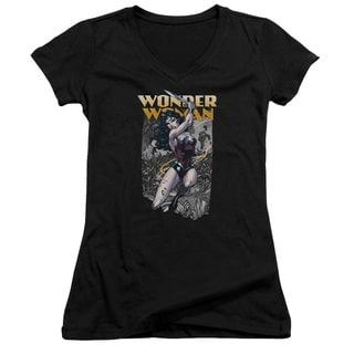 JLA/Wonder Slice Junior V-Neck in Black