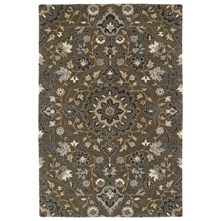 Hand-Tufted Perry Medallion Chocolate Wool Rug (9'0 x 12'0) - 9' x 12'