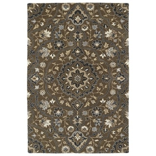 Hand-Tufted Perry Medallion Chocolate Wool Rug (9'0 x 12'0)