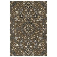 Hand-Tufted Perry Medallion Chocolate Wool Rug - 9' x 12'