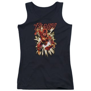 JLA/Flash Glow Juniors Tank Top in Black